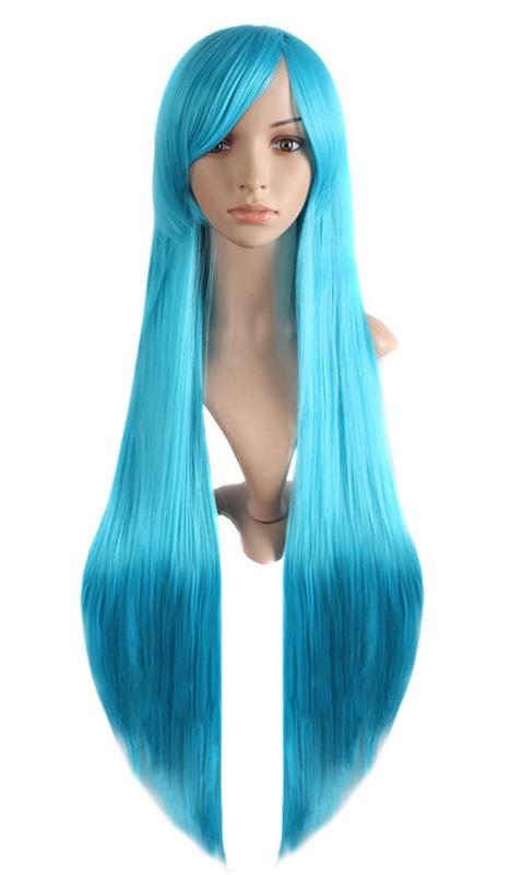 Perruque bleu cyan avec mèche lisse longue